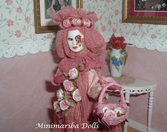 Minimariba Dolls - Venetian Carnival - miniature dollhouse doll