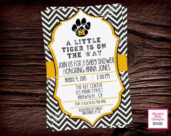 MIZZOU Baby Shower, Missouri Baby Shower Invitation, Missouri Baby Shower Invite, Missouri Tigers, Missouri Baby Shower, Tigers, MIZZOU