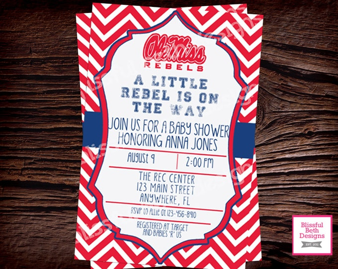 Ole Miss Baby Shower, Rebels Baby Shower Invitation,  Ole Miss Rebels Baby Shower Invite, Ole Miss, Ole Miss Rebels, Rebels, Rebel Shower