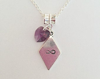 Infinity Jewelry - Purple Heart Necklace - Infinity Pendant - Silver Plated Chain - Jewelry - Crystal Heart