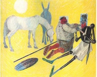 Illustration of Don Quixote by Candido Portinari, Vintage Print