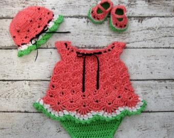 Crochet Newborn Baby Dress Set Watermelon Baby Dress Set Crochet Diaper Dress Set knit Watermelon Infant Dress Baby Shower Gift infant dress