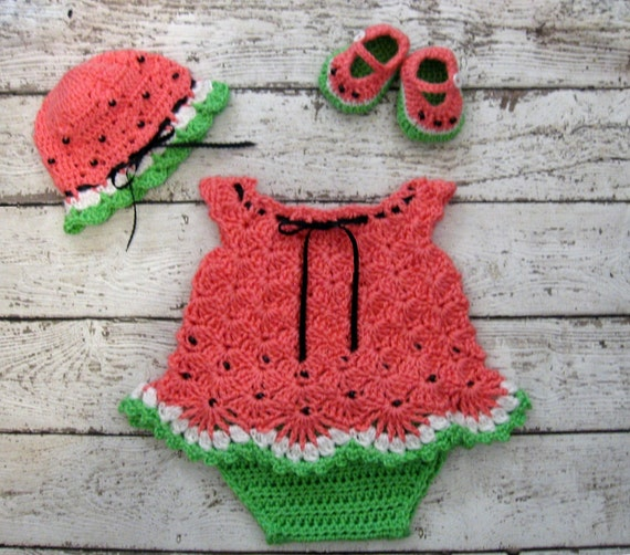 Free Crochet Watermelon Dress Pattern : Crochet Newborn Baby Dress Set Watermelon Baby Dress Set