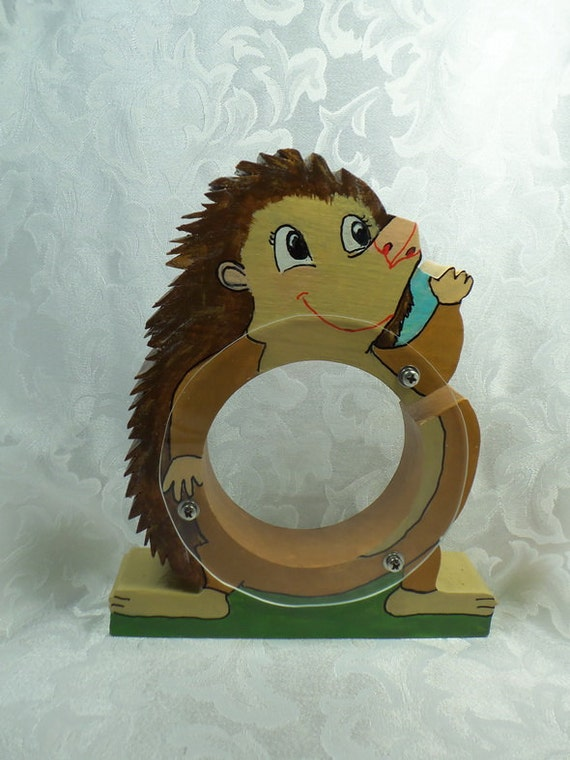 Hedgehog wooden coin bank - Free Personalization