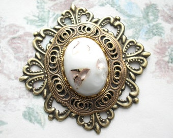 Gold and White Antiqued Brass Filigree Pendant