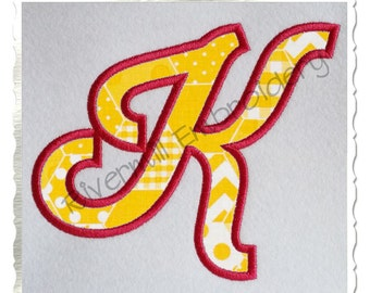 Sporty Script Applique Machine Embroidery Font Alphabet - 3 Sizes