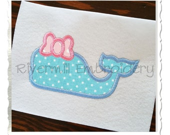 Applique Whale With a Bow Silhouette Machine Embroidery Design - 4 Sizes