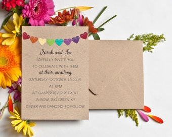 Wedding Invitations Rainbow Stationery Kraft Invitations Simple Invitations Bunting Flag Invites Casual Wedding Invitations Garland Invites