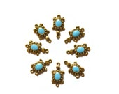Turquoise Sea Turtle Charms Links Antiqued Gold Craft Supplies Jewelry Supplies