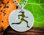 Running Girl necklace, Track and field woman jewelry, hand cut coin