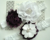 Beautiful EGGPLANT Bridal Garter Set - White Keepsake & Toss Wedding Garter - Chiffon Flower Rhinestone Lace Garters - Vintage Lace Garter