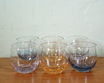 Vintage Roly Poly Glasses Set of 6 Larger Size Multi Colored Mid Century Barware