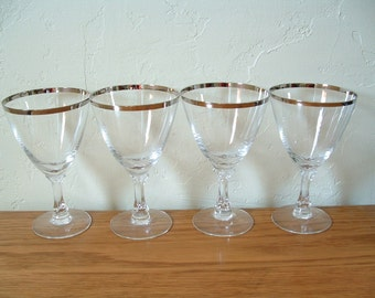 4 Vintage Fostoria Wedding Ring Platinum Rim Glasses Set of 4 Crystal Silver Rim Water Goblets Wine Glasses