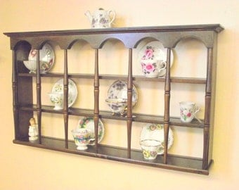Wood Teacup Tea Cup & Saucer Shelf Curio Wall 3 Tier Display w/ Columns - BIG - Holds 18 Cups / Saucers Style #3 - Plate Holder