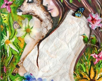 Earth Child,girl with deer,painting,flower child,earth art,hippie,mother nature,girl holding baby deer,sunflowers,mother earth,tara richelle