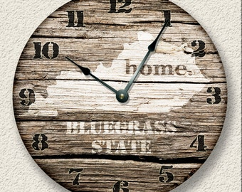 KENTUCKY Home State Wall CLOCK  - Barn Boards printed image  - Bluegrass State - rustic cabin country wall home decor