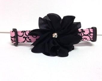 Dog Collar- Pink and Black Swirls