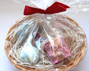 Handmade soap Gift Basket Set, soap bars bath truffles