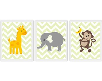 jungle nursery art, giraffe, elephant, monkey, green chevron, baby room art, Nursery or children's room artwork, set of 3, prints, decor