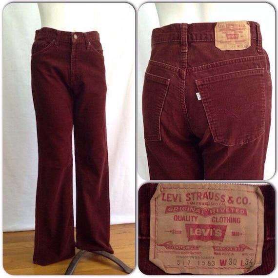 Vintage 1960s Rust Levis 517 White Tab Corduroy Jeans Pants