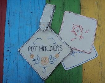 Vtg. Pot Holder and Pads Set Cross Stitched Unused 3 Pcs