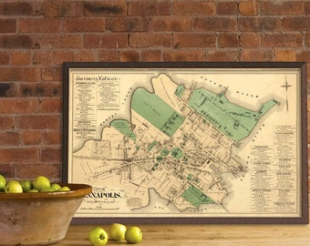 Old map of Annapolis (Maryland) -  Old city plan restored - Archival giclee print