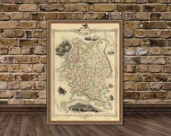 Russia map (european part) -  Finland map - Historic map fine print
