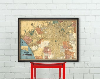 Map of Los Angeles - Large wall map - Los Angeles map fine print