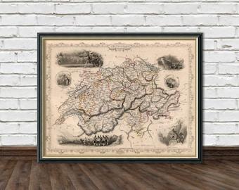 Old map of Switzerland  - Antique map - Historic maps - Vintage map of  Switzerland Print