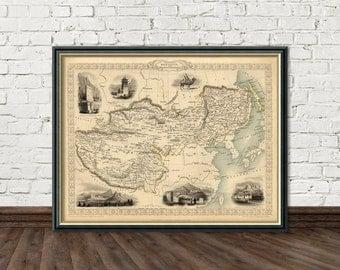 Thibet, Mongolia and Manchuria map print -  Vintage map reproduction