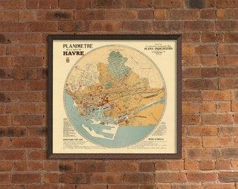Planimetre de la ville de Havre - Le Havre old map print - Archival print