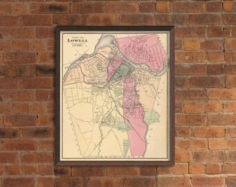 Lowell map (Massachusetts) - Old map of Lowell print - Fine print