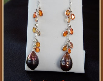 Orange Sapphire and Pearl dangle earrings