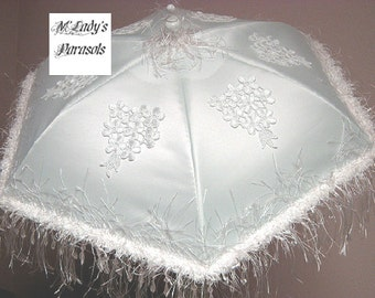 LAST ONE VICTORIAN Parasol Umbrella in White Satin or Faux Silk with White Hanging Beaded Eyelash Fringe, White Embroidered Lace Appliques