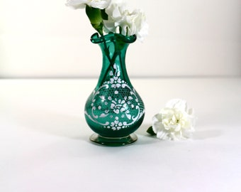 Miniature Teal Glass Vase with white enamel painted design
