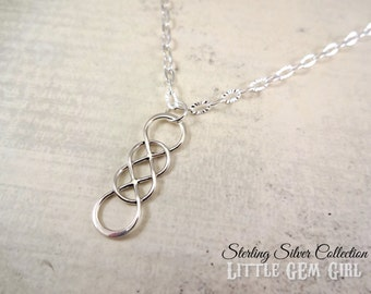 925 STERLING SILVER Double Infinity Necklace - Sterling Infinity Charm - Memorial Infinity Jewelry - Valentine Forever Infinite Love