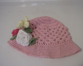 Pink Brim Hat With Flowers For Little Girl  A little Sun Shade Easter amd Spring