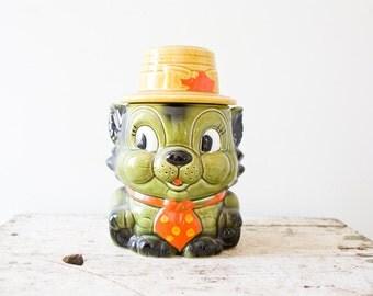Vintage Cookie Jar - Green Cat Cookie Jar KItty Cat Animal Cookie Jar Top Hat Suit Tie