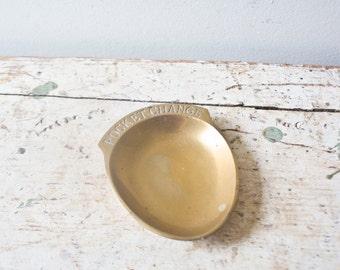 Vintage Pocket Change Holder Oval Shaped Gold Pocket Change Mens Gifts for Him Brass Tray