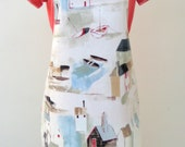 Oilcloth Apron - St Ives, Boats and Houses,  Adult PVC Apron,Waterproof Apron,