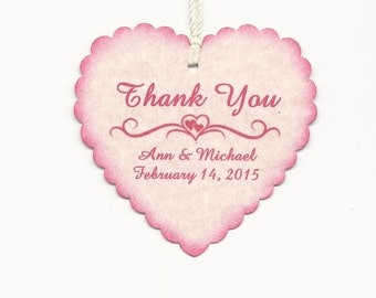 100 PERSONALIZED PINK Heart Shaped Thank you Tag -Valentine Wedding Favor tags-Shower or Gift tags-Hang Tags-Jelly/Jam/Honey Jar tags