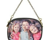 Customized Photo Small Chain Shoulder Bag/Purse with Antique Gold Hardware