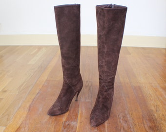 6 Knee High Zipper BOOTS / Women's Brown Suede Heeled Boots / Tall Vintage Boots / Women's Shoes / 36