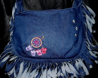 Denim Hobo Bag with Fringe, Dream Catcher Embroidery and Silver Stars, Hobo Purse