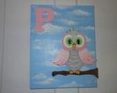 MONOGRAM OWL canvas,  GIRL, Art,