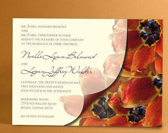 Wedding Invites with Blooming Orange Tulips and Curled Veil Imagery, Invitations with Spring Tulips, You Choose Color Accent