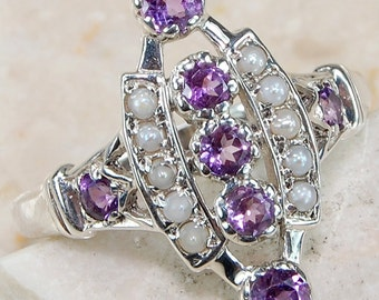 925 Amethyst, Seed Pearl Sterling Silver Ring Size 6