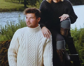 Mens Knitting Pattern W5701 Mens/Ladies Long Sleeve Cable Jumpers Knitting Pattern Aran (Fisherman) Wendy