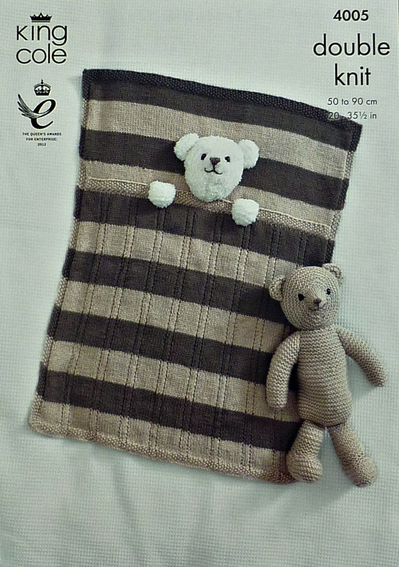 Knitting Pattern For Baby Teddy : Baby Knitting Pattern K4005 Babies Teddy Bear Pram Blanket and