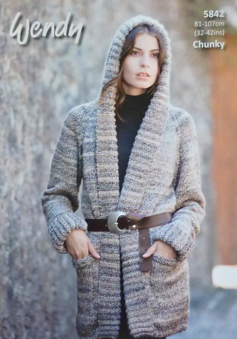 Knitting Pattern Ladies Hooded Jacket : Womens Knitting Pattern W5842 Ladies Long Sleeve Hooded ...